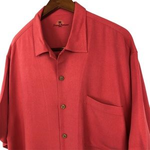 Tommy Bahama Coral 100% Silk Button Up Shirt Large